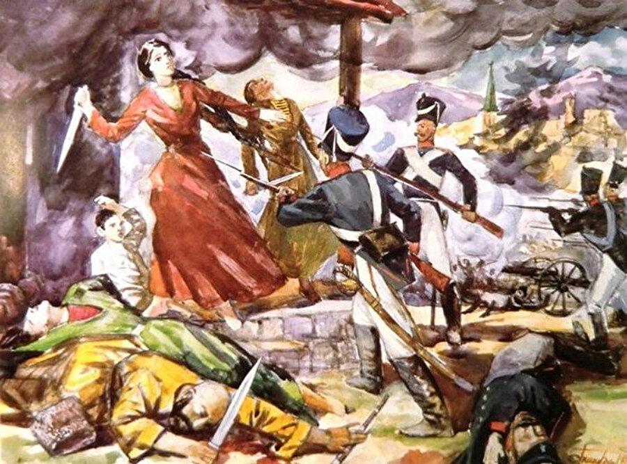 Dadi Yurt köyü katliamını tasvir eden bir resim eseri.