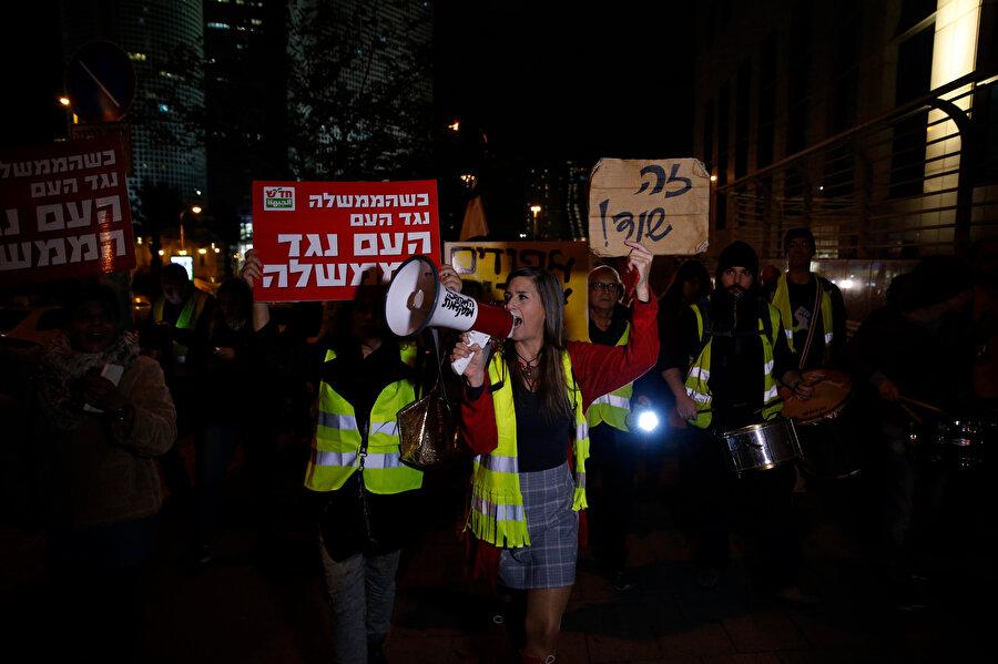 İsrail'deki gösterilere yaklaşık 300 kişi katıldı.