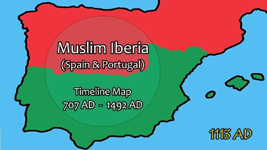 1113 yılı itibariyle İber Yarımadası'ndaki güç dengesini gösteren bir harita.