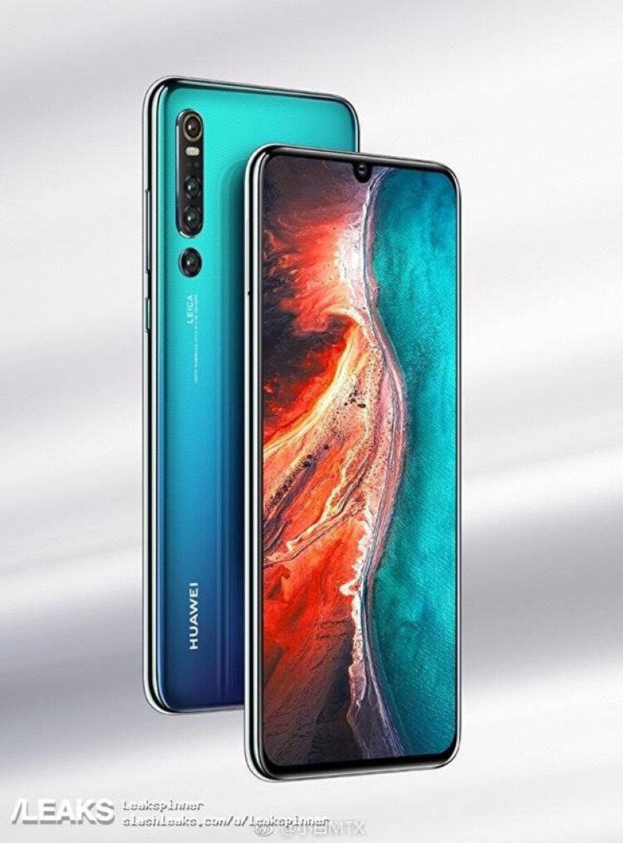 Huawei P30 Pro'ya ait olduğu söylenen görsel bu şekilde. Telefonun arkasındaki dört kamera ve öndeki kameranın minik çentiği ilk dikkat çeken detaylar arasında.