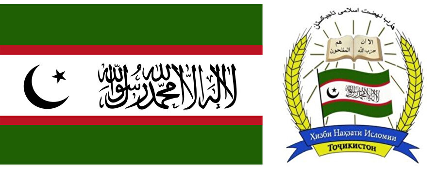 Tacikistan İslami Rönesans Partisi bayrağı ve logosu.