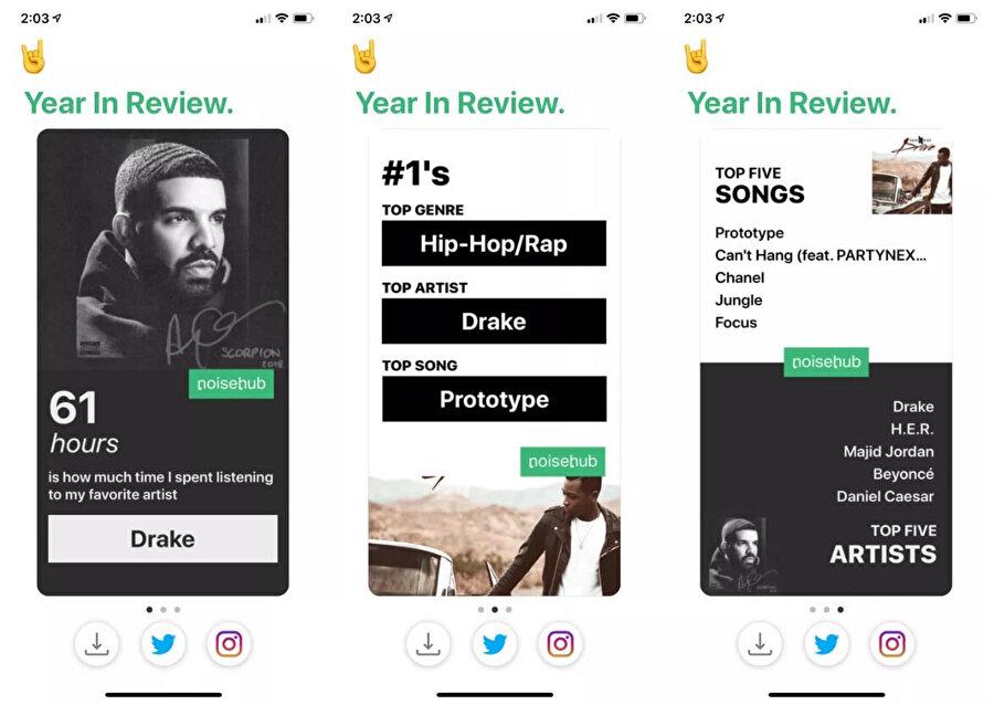 Apple Music'teki veriler en alt kısımdaki sosyal medya simgeleri üzerinden Twitter ya da Instagram'da paylaşılabiliyor.