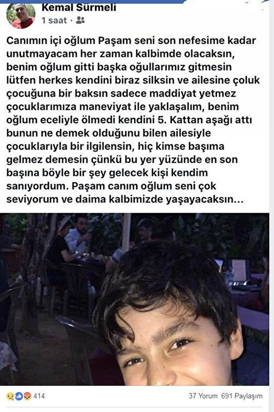 12 yaşındaki Nizamettin'in babası Kemal Sürmeli'nin oğlunun vefatı üzerine yaptığı paylaşım.