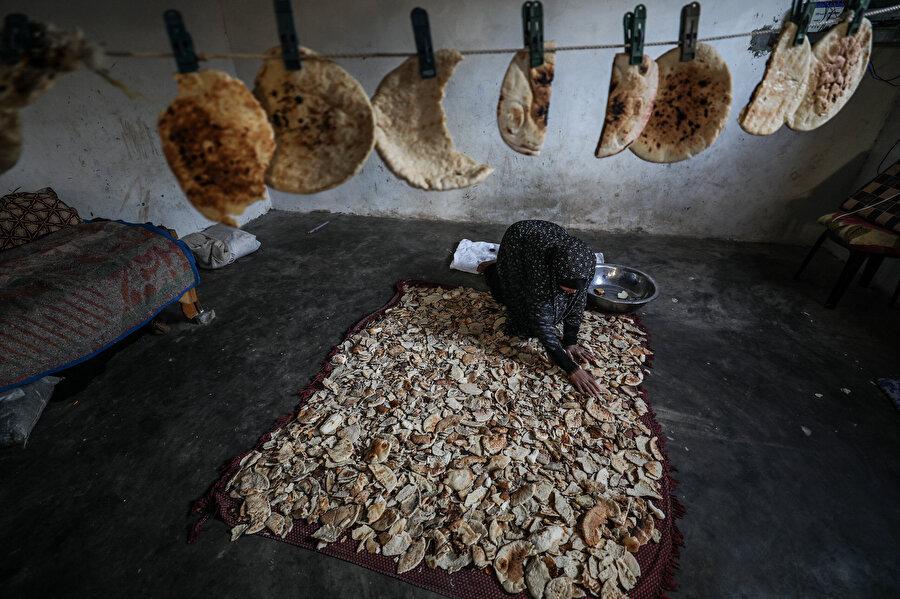 İsrail ablukası altındaki Gazze'de böbrek hastası kocasına ve çocuklarına bakmak zorunda kalan Filistinli Feyruz, ekmek parçalarını toplayıp kuş yetiştiricilerine satarak geçimini temin etmeye çalışıyor.