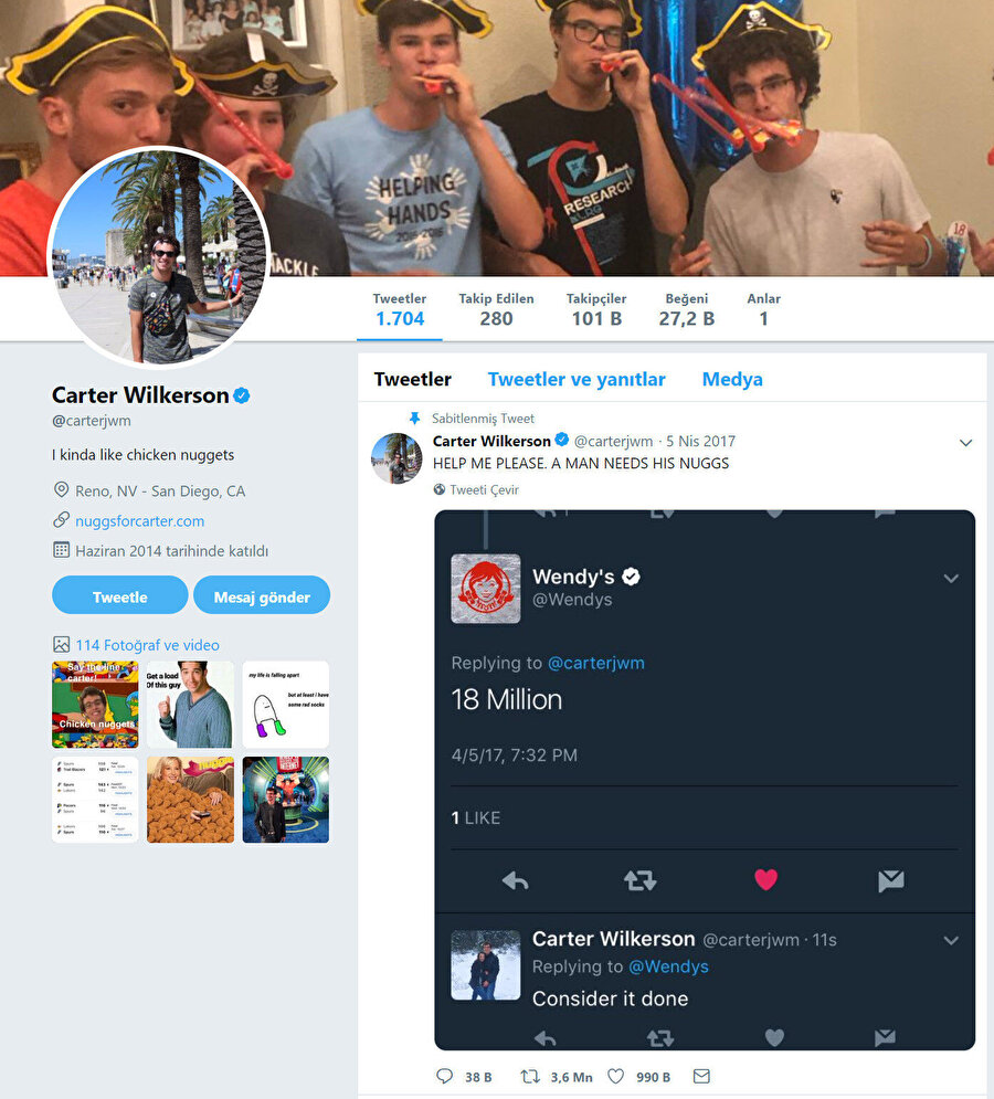 Bir önceki rekor, Carter Wilkenson'a aitti. (3.6 milyon retweet.)