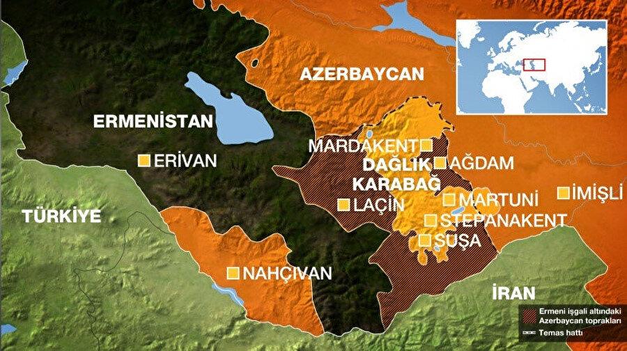 Ermenistan Azerbaycan topraklarının %20'ni fiili olarak işgal etmiş durumda. (Harita: Al Jazeera Türk)