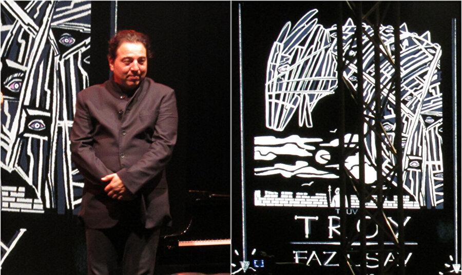 Fazıl Say, gösteri öncesi bestesi ve esin kaynağı Truva Destanı hakkında seyirciyle söyleşi yapıyor.