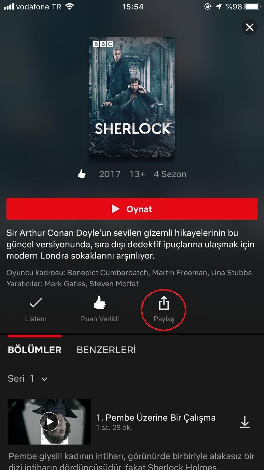 İlk aşamada, Netflix uygulamasına girip istenen içerik açıldıktan sonra 'Paylaş' butonuna dokunmak gerekiyor.