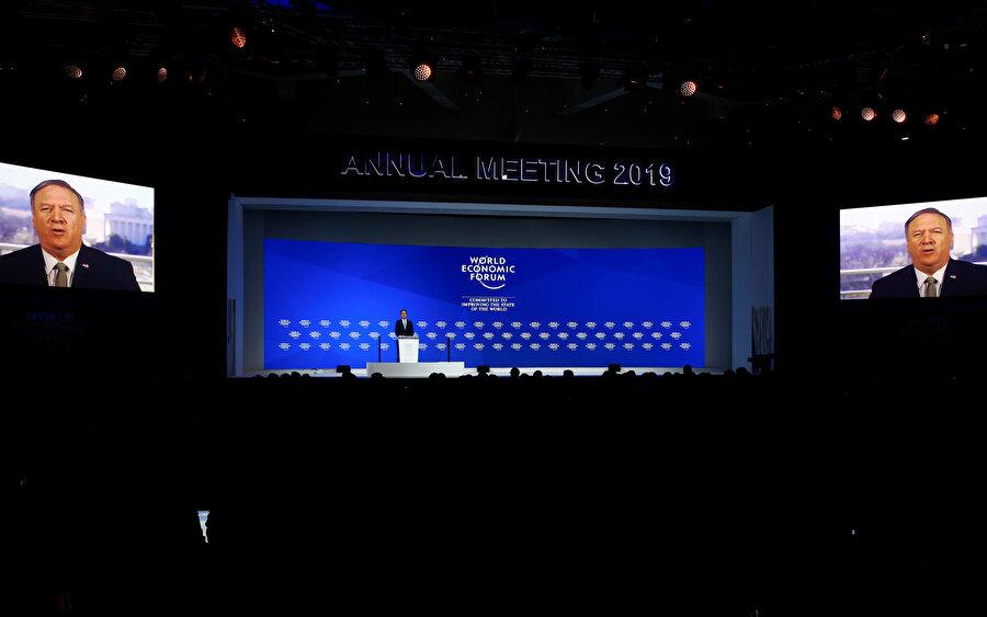 ABD Dışişleri Bakanı Mike Pompeo, Dünya Ekonomi Forumu'na video konferansla katıldı.