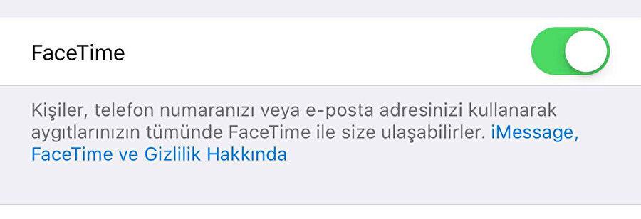 Ayarlar / FaceTime üzerinden sağ üstteki düğmeyi pasif hale getirerek FaceTime'ı kapatabilmek mümkün oluyor.