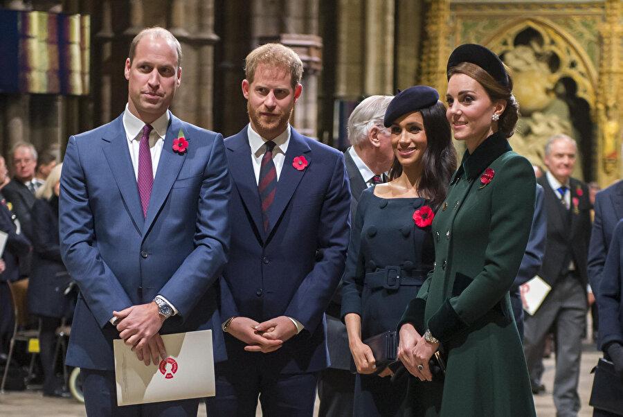 Prens Harry, Meghan Markle, Kate Middleton, Prens William.