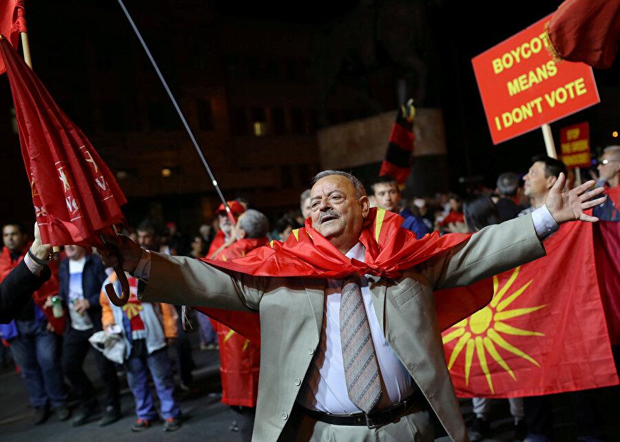 Üsküp'te Makedonyalıların protestolarından bir kare.