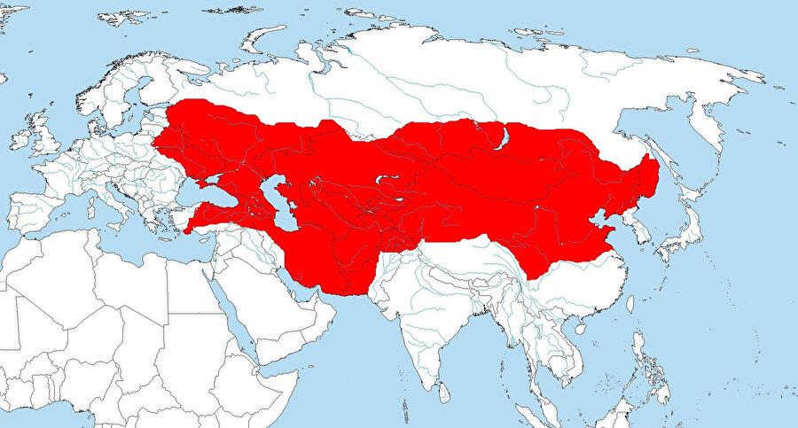 1245 yılı itibariyle, Moğol İmparatorluğu'nun sınırları...