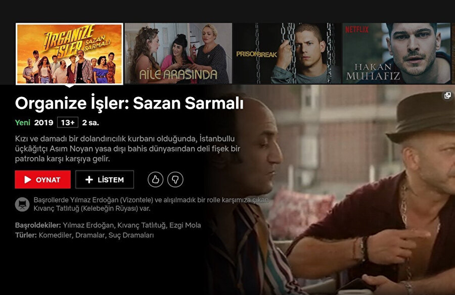 Organize İşler: Sazan Sarmalı, 2 hafta boyunca sinemada yayınlanmasının ardından bir diğer yayın platformu Netflix'te yayınlanmaya başlandı.