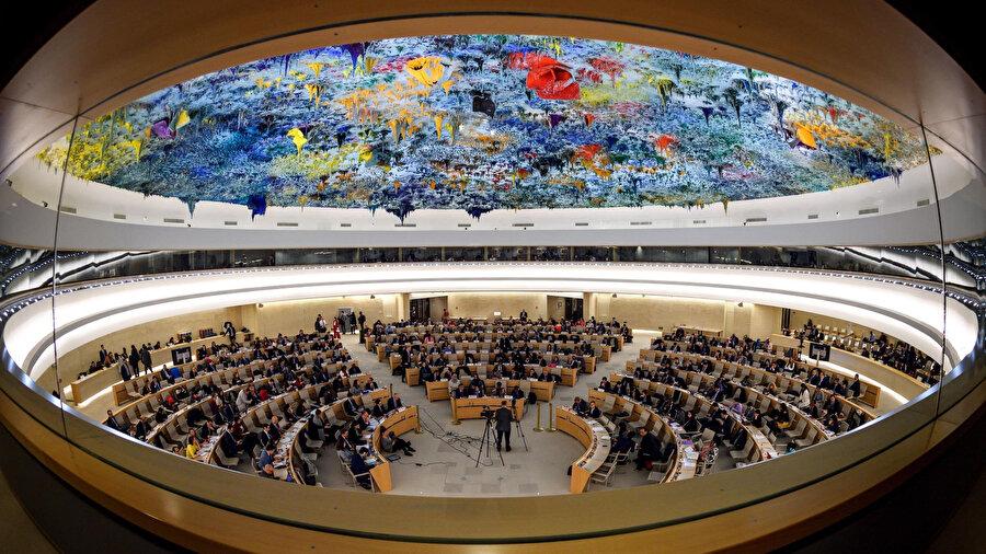 47 üyesi bulunan BM organı, insan hakları konularını görüşmek üzere her yıl 3 kez toplanıyor.