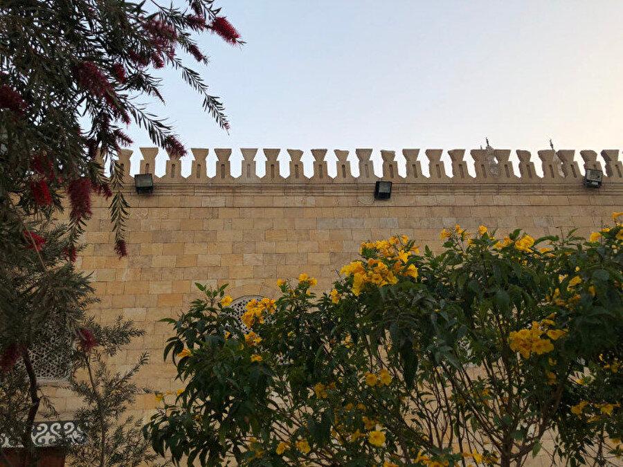 El Ezher Camii'nin mazgalları ve çiçek açmış ağaçlar.