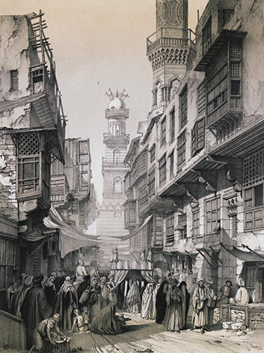 Eski Kahire'de Beynü'l Kasrin'i gördüğümüz bir illüstrasyon.