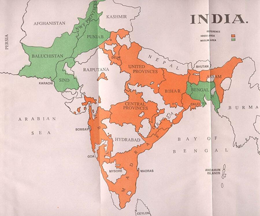 1947'den önce Hindistan'daki Müslüman ve Hindu çoğunluğun yer aldığı bölgeleri gösteren bir harita.