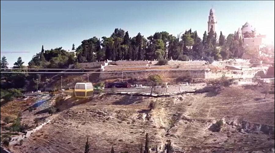 Mescid-i Aksa çevresine İsrail tarafından kurulması planlanan teleferik hattının temsili bir görüntüsü.