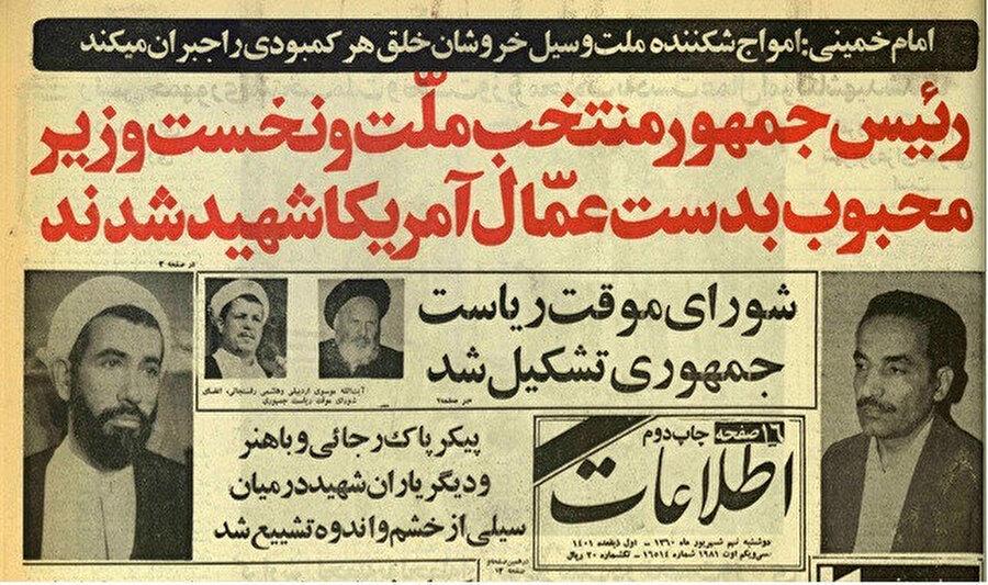 Cumhurbaşkanı Muhammed Ali Recâî ile Başbakan Cevad Bâhüner'in suikast sonucu öldürülmeleri dönemin gazetesine bu şekilde yansır.