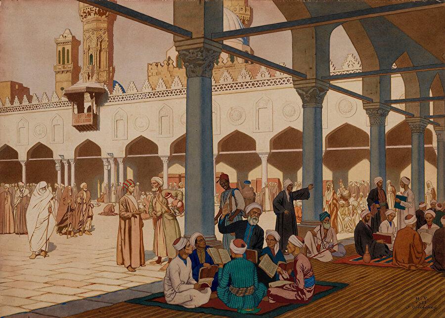 Ivan Bilibin'in 1900'lerin başlarında Ezher Camii avlusunu tasvir ettiği tablosu.