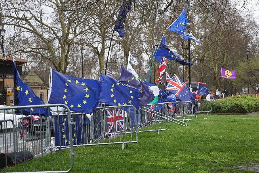 AB'de kalmak isteyen vatandaşlar gösteri düzenledi.