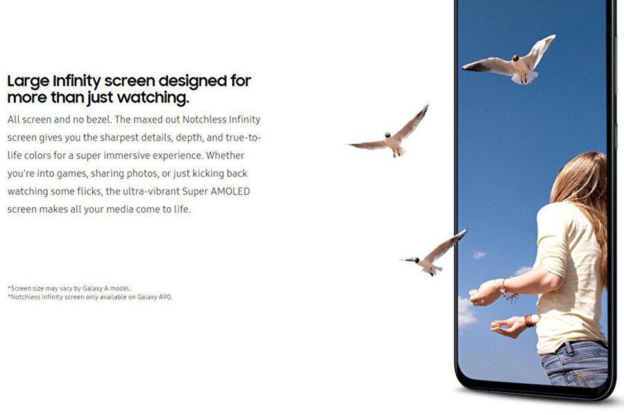Samsung Galaxy A90'daki Notchless Infinity hakkında şu ana kadar çıkan tek görsel.