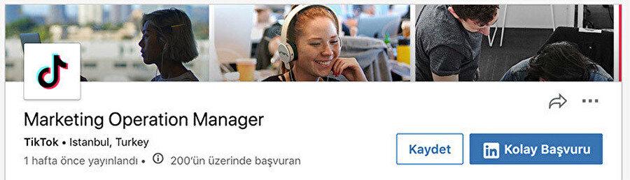 TikTok'un Türkiye için yayınladığı iş ilanı.