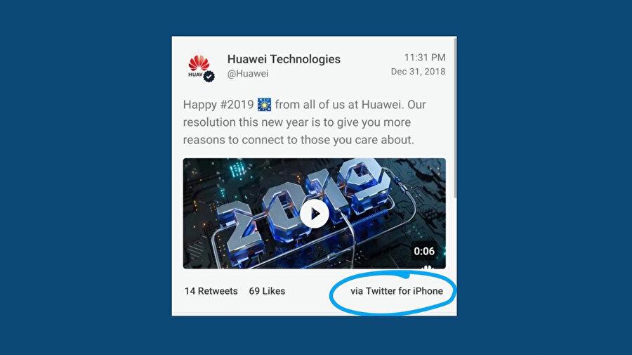 Huawei'nin hesabından iPhone ile tweet atılması şirket içerisinde büyük ses getirmişti.