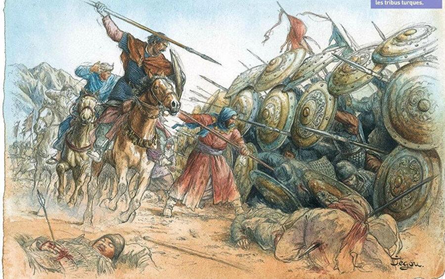 Fransız ressam Christian Jegou'nun Talas Savaşı'yla ilgili çizdiği resim.