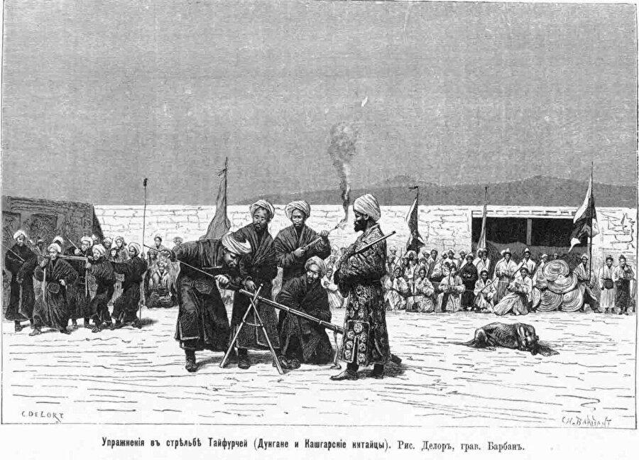 Yakup Bey önderliğinde Dungan Müslümanlarının top atışı egzersizleri ( Gravür: Charles Barbant)