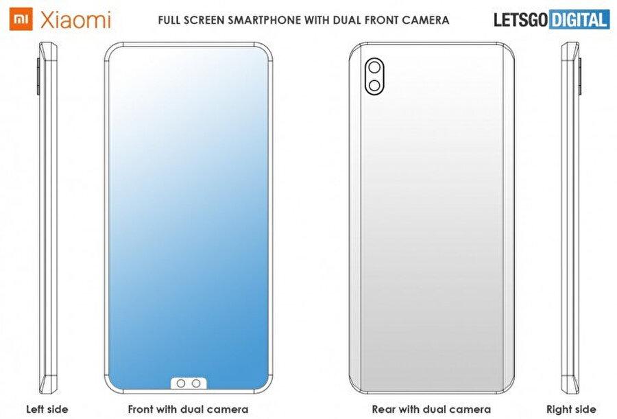 Xiaomi tarafından alınan, cihazın ön tarafında ortada yan yana bulunan kamera patenti. n