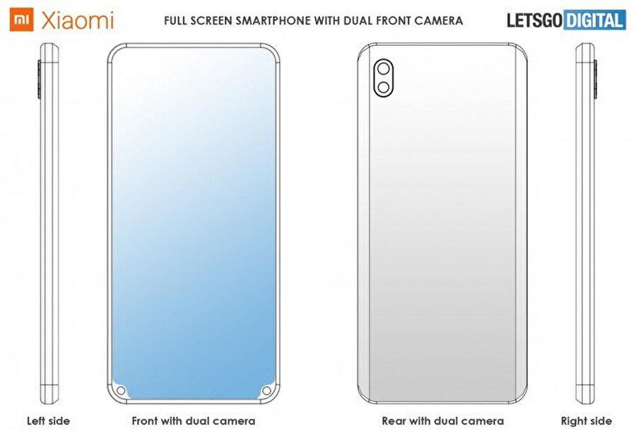 Kamerayı ön kısımda iki farklı köşeye yerleştiren patent.