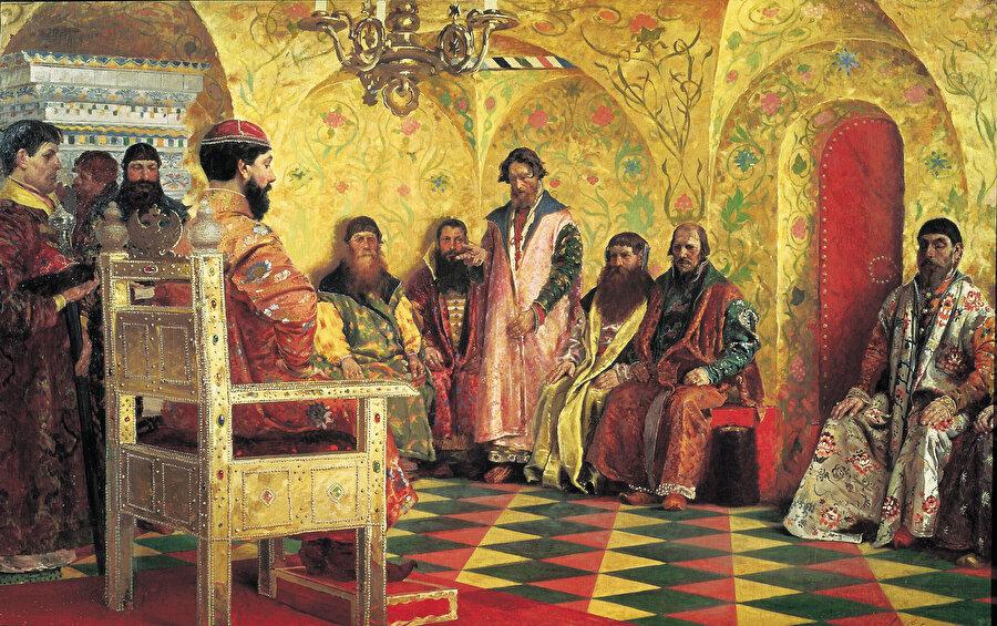 Rus ressam Andrey Ryabuşkin'in ''Çar Mihail Federoviç boyarlarla birlikte odasında'' eseri. (1898)