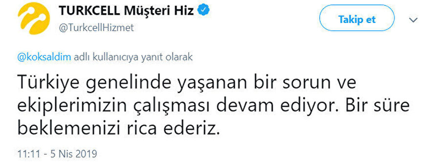 Turkcell Twitter hesabından yapılan açıklama bu şekilde.n