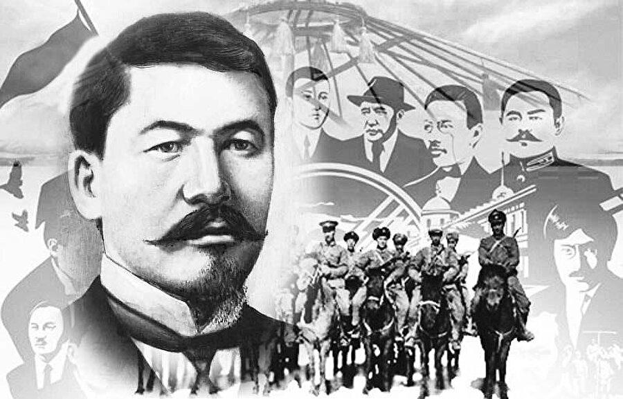 Alihan Bökeyhan (solda büyük resim) ve Kazak aydınları.