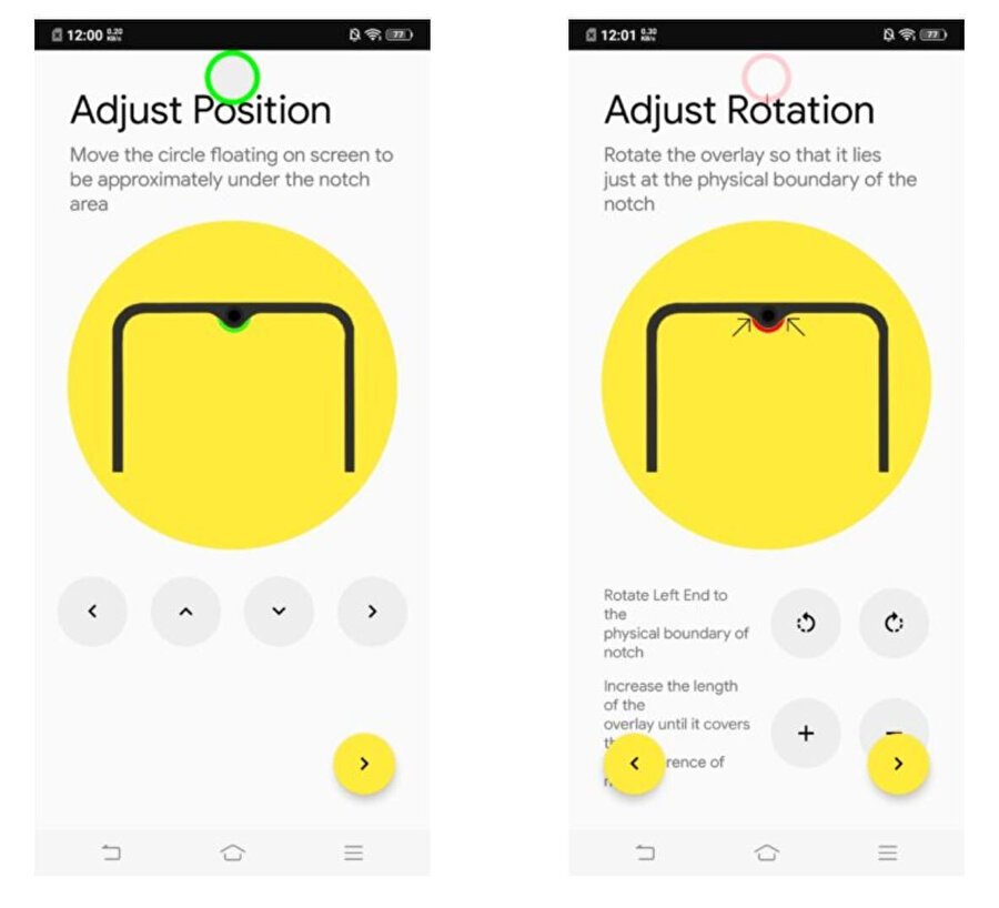 Böylece ekranda damla tasarımın çevresi şarj göstergesi olarak kullanılabiliyor.
