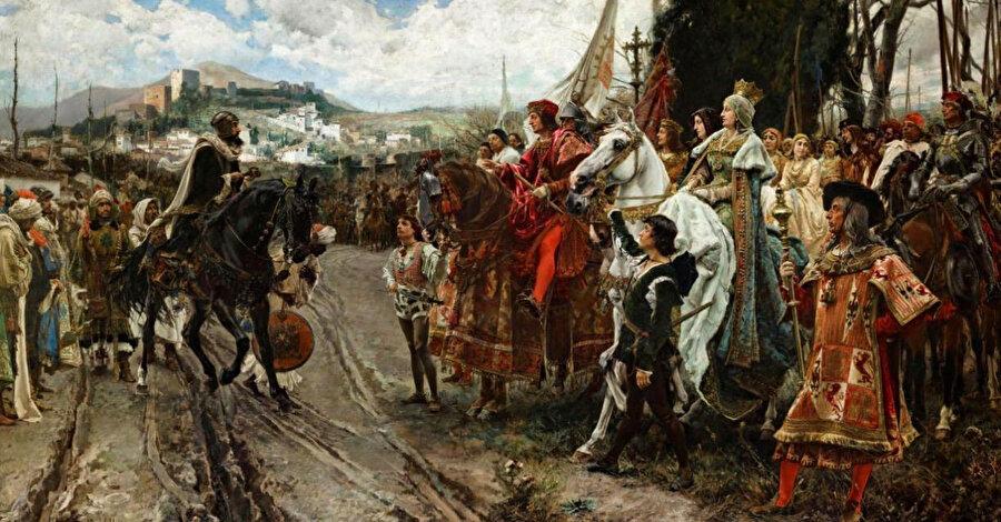"""Müslümanların hâkimiyeti altında yaşamak istemeyen Hristiyanlar, kaybettikleri toprakları geri almak için """"Reconquista"""" (yeniden fetih, geri alma) hareketini başlattılar."""