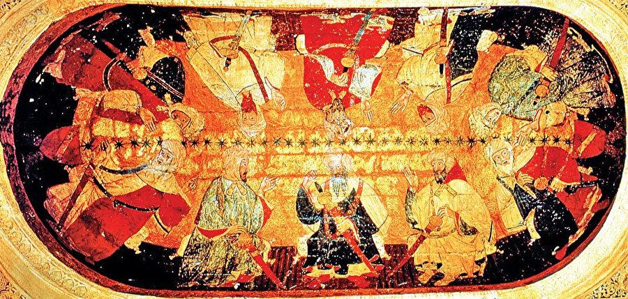 Elhamra Sarayı'nın Krallar Salonu'nda bulunan ve ilk on Nasrî sultanını tasvir ettiği sanılan resim – Gırnata / İspanya.