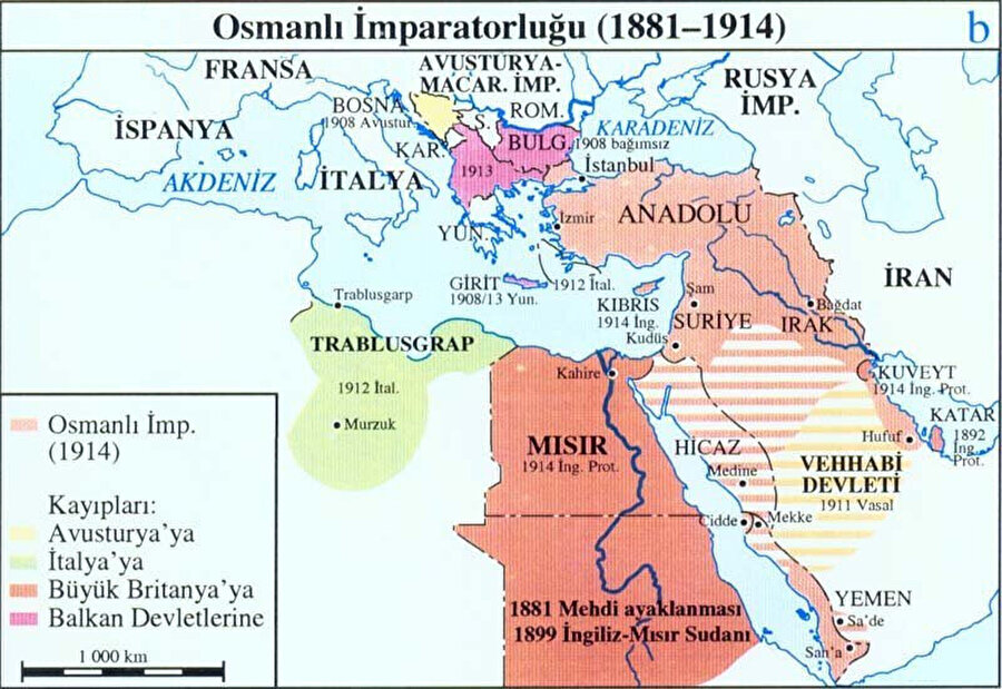 Osmanlı Devleti'nin 1914 sınırları.