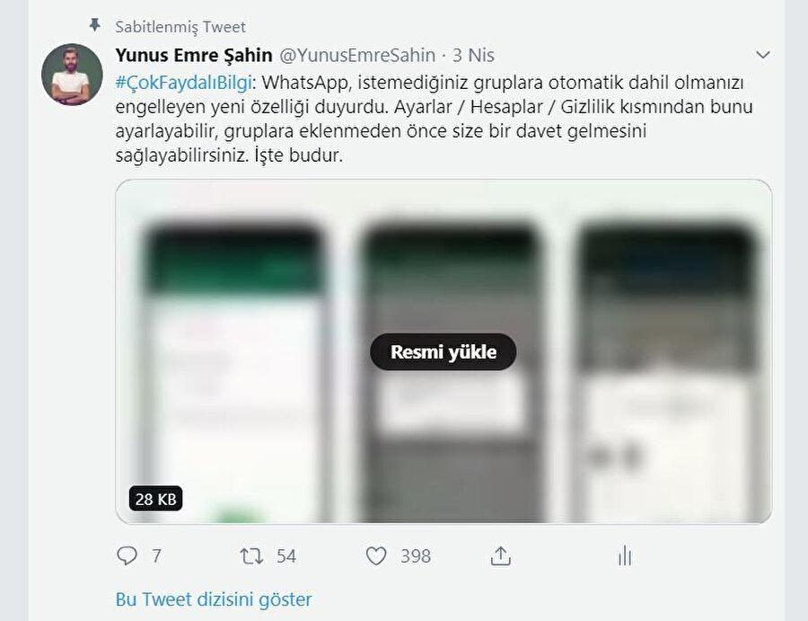Twitter'daki fotoğraf ve videolar 'Resmi Yükle' düğmesiyle karşınıza çıkıyor. Bunlar önden yüklenmediği için de doğal olarak kota tasarrufu sağlanmış oluyor.