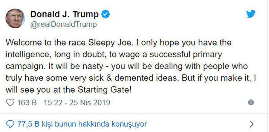 Trump'ın tweet'i