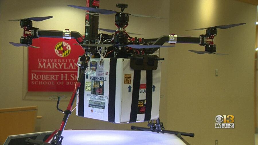 Maryland Üniversitesi'nin geliştirdiği özel nakil drone'u 18 kg'a kadar taşıma kapasitesine sahip.