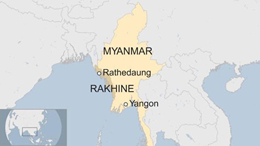 Arakan'ın haritadaki yeri. Rakhine (Arakan)