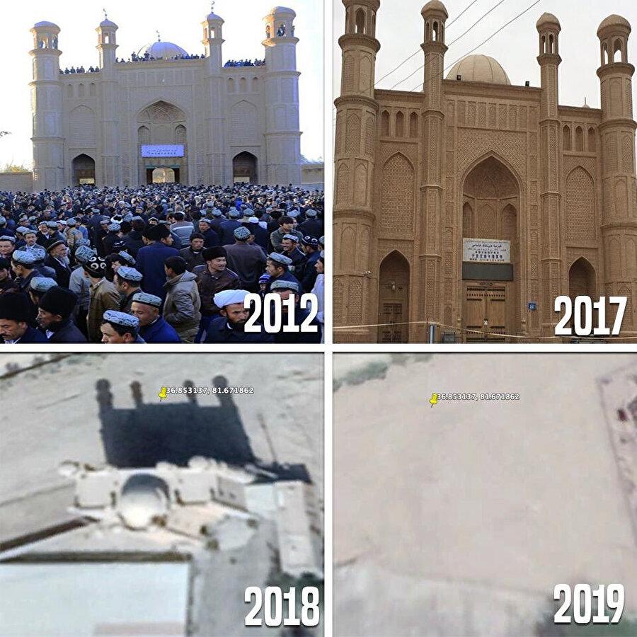 Keriya Aitika Camii'nin yıkıldığını gösteren uydu fotoğraflarının karşılaştırılmış hali.
