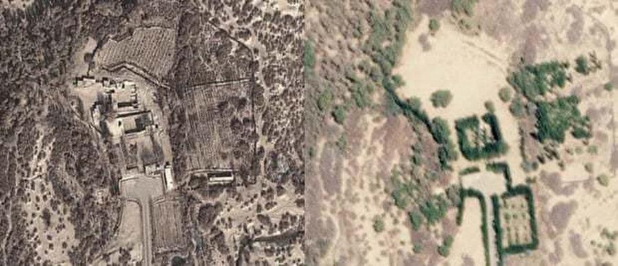 İmam Caferi Sadık türbesinin önceki ve sonraki halleri. Solda, 10 Aralık 2013'teki sağlam hali, sağda, 20 Nisan 2019'da yıkıldıktan sonraki hali.
