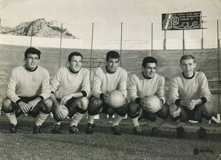 Metin Oktay, Palermo'daki takım arkadaşlarıyla.