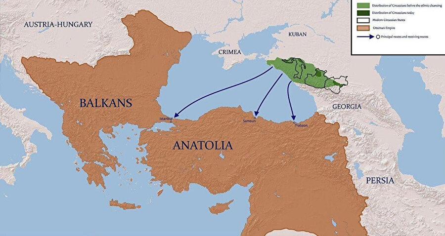 Çerkeslerin Osmanlı Devleti sınırları içinde göç ettiği şehirler.