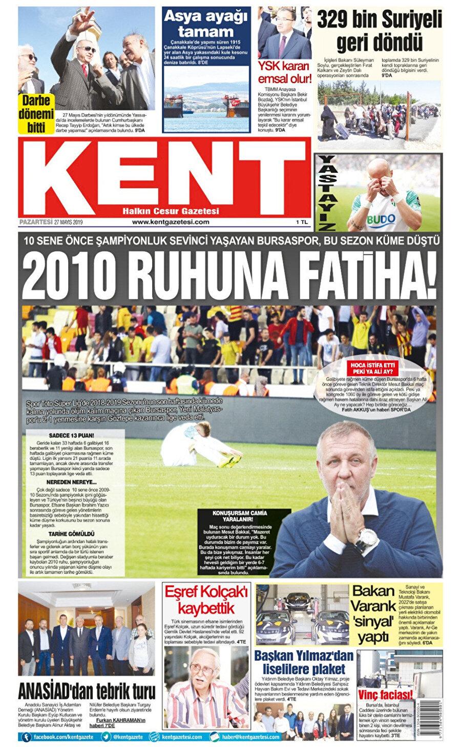 Bursaspor yerel gazetelerinden Kent, şehrin takımının küme düşmesini böyle gördü.