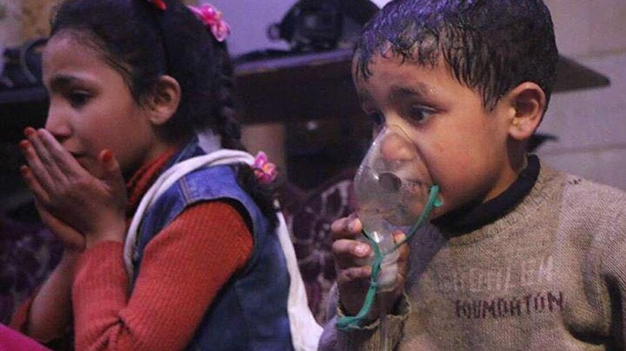 Kimyasal silahlardan çıkan zehirli gazların çocuklar üzerindeki etkisi.
